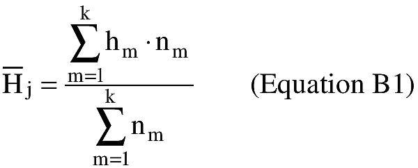 Equation for (i) The height intervals in the GGUAS source data vary as a function of the following 15 atmospheric pressure levels expressed in millibars: surface, 1000, 850, 700, 500, 400, 300, 250, 200, 150, 100, 70, 50, 30, 10. The actual geometric height associated with each pressure level varies depending on the time of year. An applicant shall estimate the mean geometric height over the period of months selected in subparagraph (1) of this paragraph for each of the 15 pressure levels as shown in equation B1.