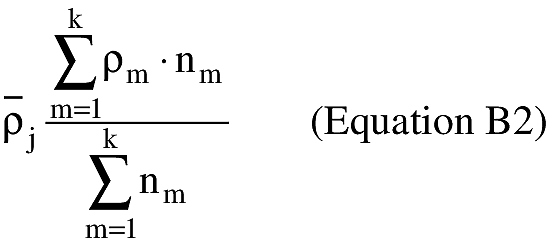 Equation for (ii) The atmospheric densities in the source data also vary as a function of the 15 atmospheric pressure levels. The actual atmospheric density associated with each pressure level varies depending on the time of year. An applicant shall estimate the mean atmospheric density over the period of months selected in accordance with subparagraph (1) of this paragraph for each of the 15 pressure levels as shown in equation B2.