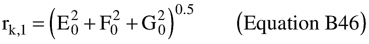 Graphic of (A) An applicant shall approximate the radial distance (rk,l) from the geocenter to the IIP. The distance from the center of the Earth ellipsoid to the launch point shall be used for the initial approximation of rk,l as shown in equation B46.