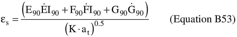 Graphic of (G) An applicant shall compute the eccentricity of the trajectory ellipse multiplied by the sine of the eccentric anomaly at epoch εs).