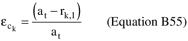Equation for (I) An applicant shall compute the eccentricity of the trajectory ellipse multiplied by the cosine of the eccentric anomaly at impact (εc k).