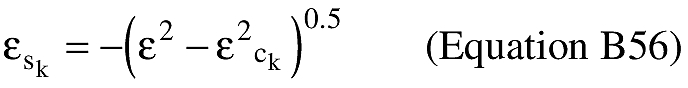 Equation for (J) An applicant shall compute the eccentricity of the trajectory ellipse multiplied by the sine of the eccentric anomaly at impact (εs k).