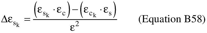 Equation for (L) An applicant shall compute the sine of the difference between the eccentric anomaly at impact and the eccentric anomaly at epoch (Δεs k).