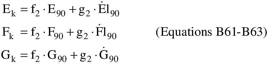 Equation for (O) An applicant shall compute the E,F,G coordinates at impact (Ei,Fi,Gi).