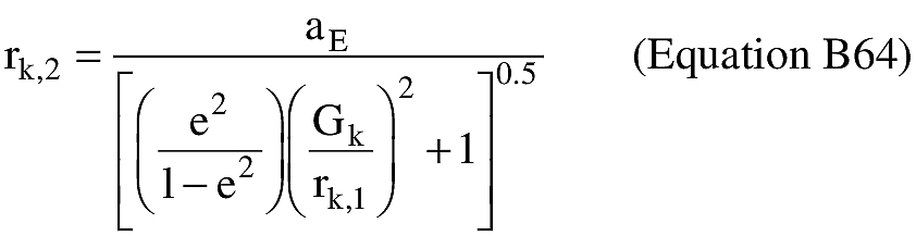 Equation for (P) An applicant shall approximate the distance from the geocenter to the launch vehicle position at impact (rk,2).