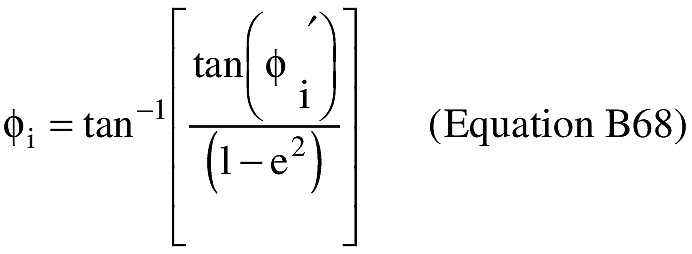 Equation for (U) An applicant shall compute the geodetic latitude at impact (φ).