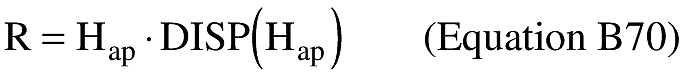 Equation for (ii) An applicant shall define the final stage impact dispersion area by using a dispersion factor [DISP(Hap)] as shown below. An applicant shall calculate the impact dispersion radius (R) for the final launch vehicle stage. An applicant shall set R equal to the maximum apogee altitude (Hap) multiplied by the dispersion factor as shown below