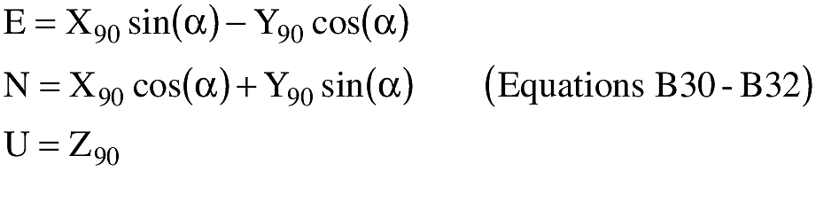 Graphic of (B) An applicant shall transform X90,Y90,Z90 to E,N,U