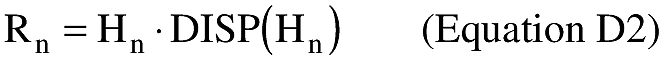 Equation for (iii) An applicant shall calculate the impact dispersion radius for the final launch vehicle stage (Rn). An applicant shall set Rn equal to the last stage apogee altitude (Hn) multiplied by an impact dispersion factor [DISP(Hn)] in accordance with the following
