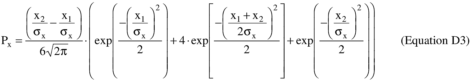 Equation for (ii) An applicant shall estimate the probability of impacting inside the X and Y sectors of each populated area within each impact dispersion area using equations D3 and D4