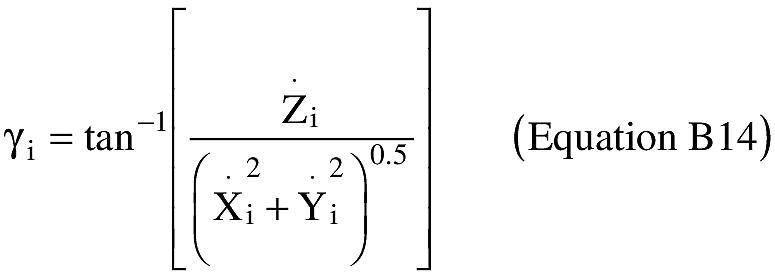 Graphic of (E) Velocity vector path angle (γi) at turn epoch