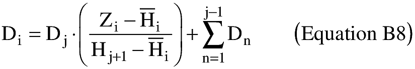 Equation for (5) Once the Dj are estimated for each height interval, an applicant shall determine the total debris dispersion (Di) for each Zi using a linear interpolation and summation exercise, as shown below in equation B8. An applicant shall use a launch point height of zero equal to the surface level of the nearest GGUAS grid location.