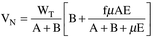 Graphic of (e) In the absence of a more rational analysis, the nose gear vertical reaction prescribed in paragraph (d) of this section must be calculated according to the following formula