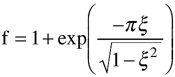 Graphic of f = Dynamic response factor; 2.0 is to be used unless a lower factor is substantiated. In the absence of other information, the dynamic response factor f may be defined by the equation
