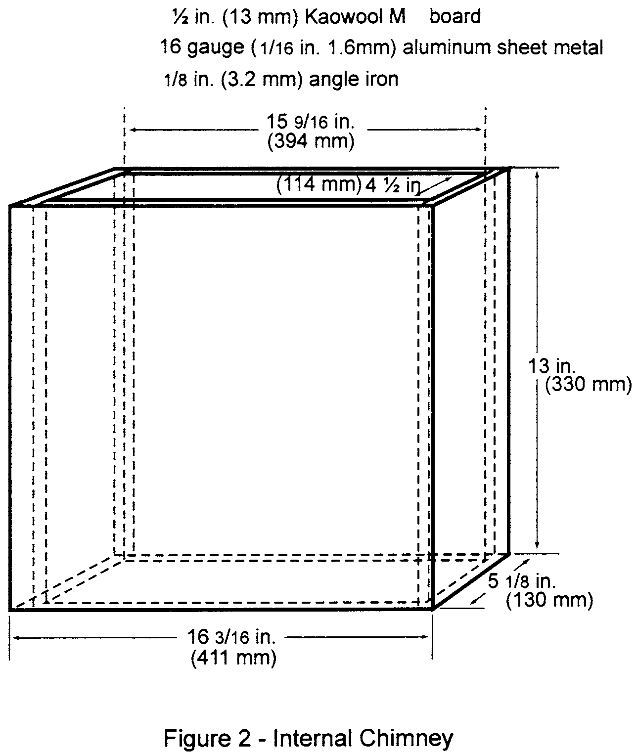 Graphic of (1) Radiant panel test chamber. Conduct tests in a radiant panel test chamber (see figure 1 above). Place the test chamber under an exhaust hood to facilitate clearing the chamber of smoke after each test. The radiant panel test chamber must be an enclosure 55 inches (1397 mm) long by 19.5 (495 mm) deep by 28 (710 mm) to 30 inches (maximum) (762 mm) above the test specimen. Insulate the sides, ends, and top with a fibrous ceramic insulation, such as Kaowool M TM board. On the front side, provide a 52 by 12-inch (1321 by 305 mm) draft-free, high-temperature, glass window for viewing the sample during testing. Place a door below the window to provide access to the movable specimen platform holder. The bottom of the test chamber must be a sliding steel platform that has provision for securing the test specimen holder in a fixed and level position. The chamber must have an internal chimney with exterior dimensions of 5.1 inches (129 mm) wide, by 16.2 inches (411 mm) deep by 13 inches (330 mm) high at the opposite end of the chamber from the radiant energy source. The interior dimensions must be 4.5 inches (114 mm) wide by 15.6 inches (395 mm) deep. The chimney must extend to the top of the chamber (see figure 2).
