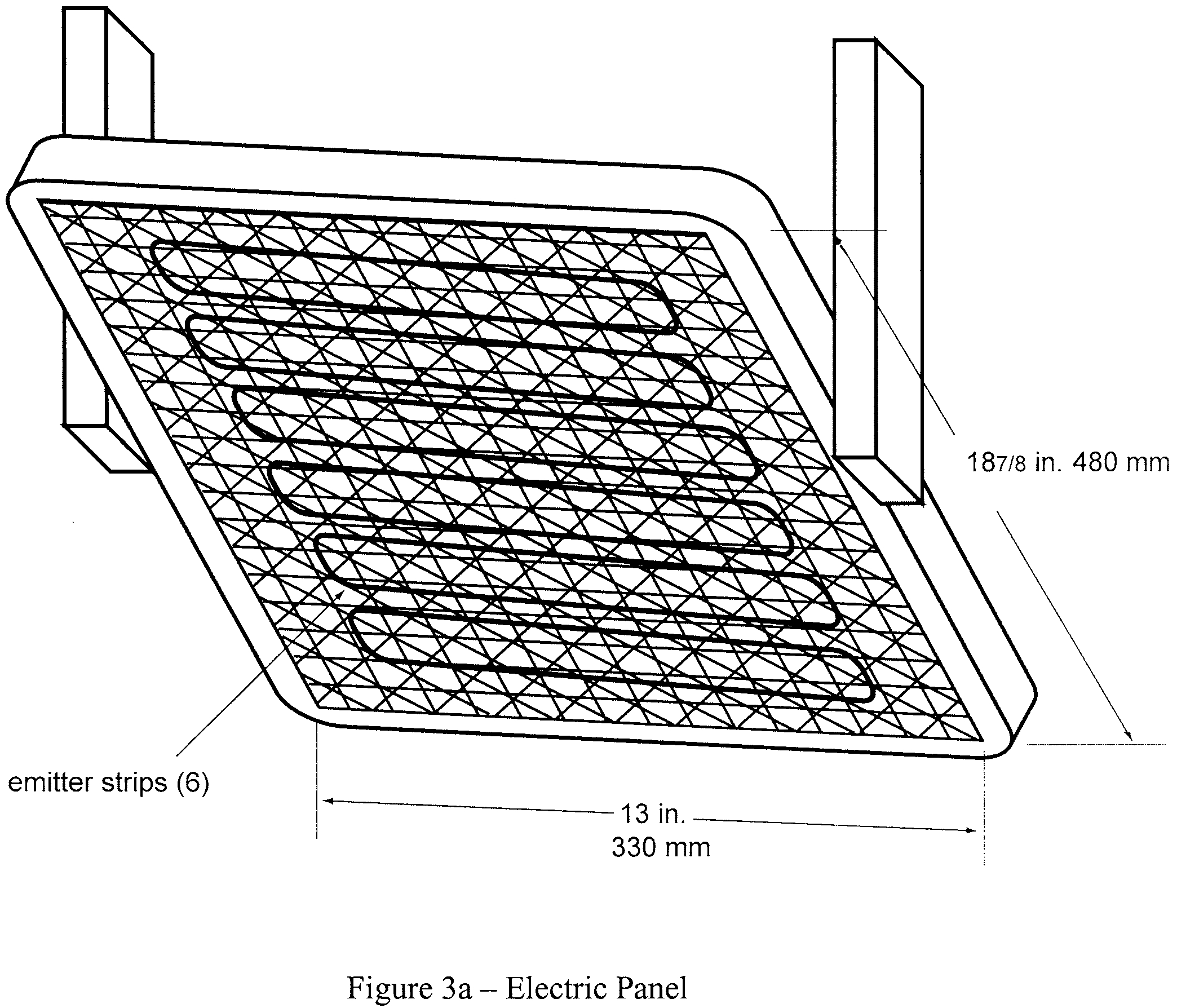Graphic of (2) Radiant heat source. Mount the radiant heat energy source in a cast iron frame or equivalent. An electric panel must have six, 3-inch wide emitter strips. The emitter strips must be perpendicular to the length of the panel. The panel must have a radiation surface of 127/8 by 181/2 inches (327 by 470 mm). The panel must be capable of operating at temperatures up to 1300 °F (704 °C). An air propane panel must be made of a porous refractory material and have a radiation surface of 12 by 18 inches (305 by 457 mm). The panel must be capable of operating at temperatures up to 1,500 °F (816 °C). See figures 3a and 3b.
