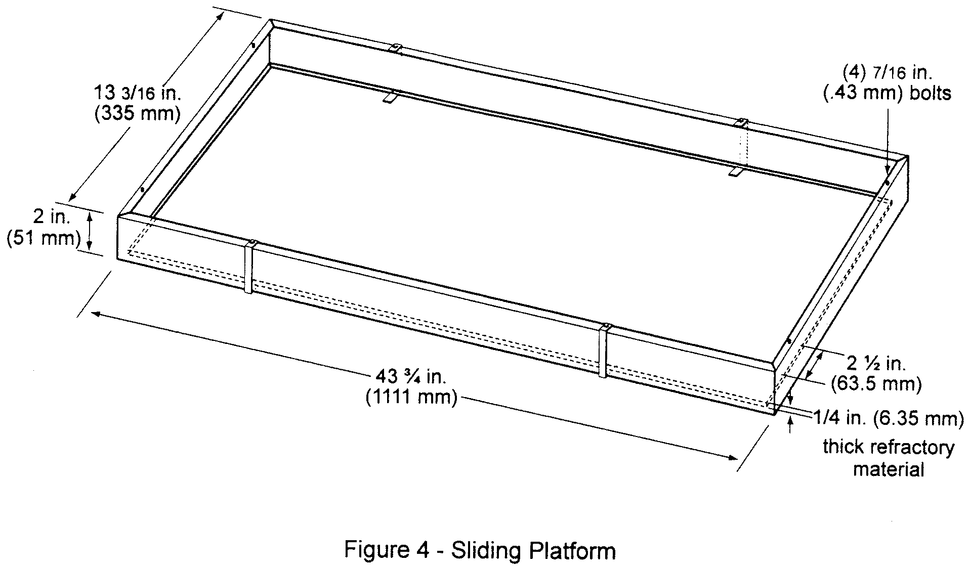Graphic of (i) The sliding platform serves as the housing for test specimen placement. Brackets may be attached (via wing nuts) to the top lip of the platform in order to accommodate various thicknesses of test specimens. Place the test specimens on a sheet of Kaowool M TM board or 1260 Standard Board (manufactured by Thermal Ceramics and available in Europe), or equivalent, either resting on the bottom lip of the sliding platform or on the base of the brackets. It may be necessary to use multiple sheets of material based on the thickness of the test specimen (to meet the sample height requirement). Typically, these non-combustible sheets of material are available in 1/4 inch (6 mm) thicknesses. See figure 4. A sliding platform that is deeper than the 2-inch (50.8mm) platform shown in figure 4 is also acceptable as long as the sample height requirement is met.