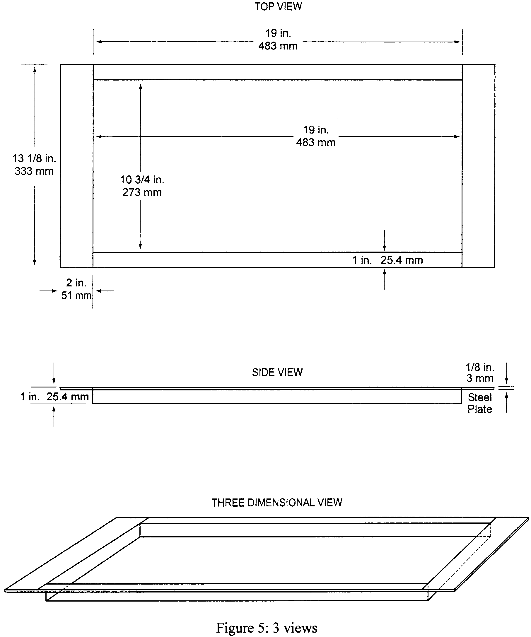 Graphic of (iii) Place the test specimen horizontally on the non-combustible board(s). Place a steel retaining/securing frame fabricated of mild steel, having a thickness of 1/8 inch (3.2 mm) and overall dimensions of 23 by 131/8 inches (584 by 333 mm) with a specimen opening of 19 by 103/4 inches (483 by 273 mm) over the test specimen. The front, back, and right portions of the top flange of the frame must rest on the top of the sliding platform, and the bottom flanges must pinch all 4 sides of the test specimen. The right bottom flange must be flush with the sliding platform. See figure 5.